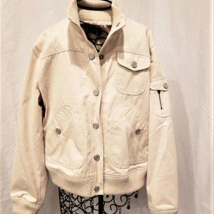 GAP Jeans Co. Ivory Denim Women's Coat Jacket LG
